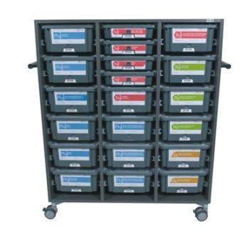 Szafka do przechowywania zestawów TESS, do 18 pojemników h = 15 cm