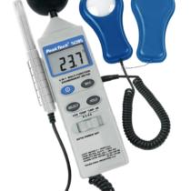 Multimetr do pomiaru parametrów środowiska: temperatura, wilgotność powietrza, natężenie światła i dźwięku